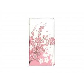 Pochette pour Sony Xperia Z3 compact petites fleurs roses + film protection écran