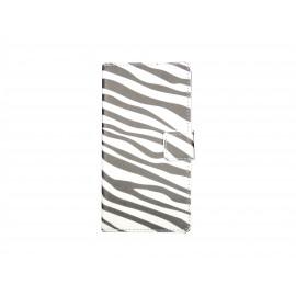 Pochette pour Sony Xperia E3 zèbre noir blanc+ film protection écran