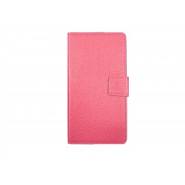 Pochette pour Sony Xperia E3 simili-cuir rose+ film protection écran