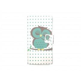 Pochette pour Wiko Sunset hibou vert+ film protection écran