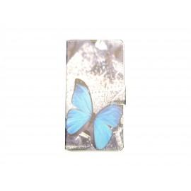 Pochette pour Wiko Sunset papillon bleu + film protection écran
