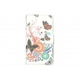 Pochette simili-cuir pour Nokia Lumia 630 papillons multicolores+ film protection écran