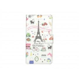 Pochette simili-cuir pour Nokia Lumia 630 Paris Tour Eiffel+ film protection écran