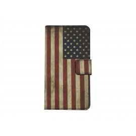 Pochette simili-cuir pour Nokia Lumia 630 USA/Etats-Unis+ film protection écran