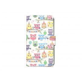 Pochette pour Samsung Galaxy Core 4G hiboux multicolores + film protection écran offert