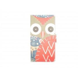 Pochette pour LG L Bello hibou rouge + film protection écran offert