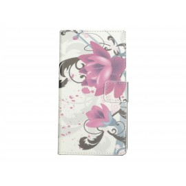 Pochette pour Samsung Galaxy Ace 4 fleurs roses et grises + film protection écran