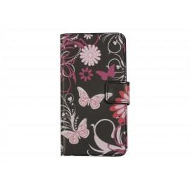Pochette pour Samsung A3 noire papillons roses + film protection écran