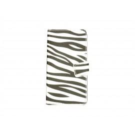 Pochette simili-cuir pour Nokia Lumia 530 zèbre noir blanc+ film protection écran