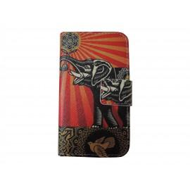 Pochette simili-cuir pour Nokia Lumia 530 éléphant + film protection écran