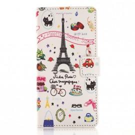 Pochette pour Wiko Rainbow Tour Eiffel + film protection écran