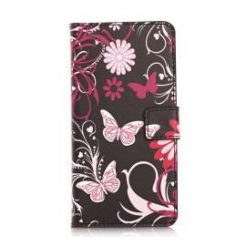Pochette pour Wiko Highway Signs noire papillons roses + film protection écran