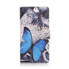 Pochette pour HTC One M9 papillon bleu + film protection écran
