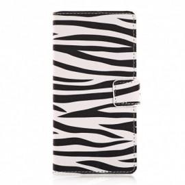 Pochette pour Samsung A7 zèbre noir blanc  + film protection écran