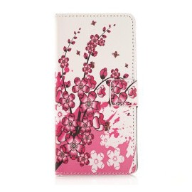Pochette pour Huawei P8 fleurs roses