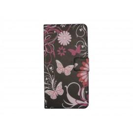 Pochette pour Wiko Lenny noire papillons roses+ film protection écran
